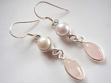 Rose Quartz Freshwater Pearl Earrings 925 Sterling Silver Dangle Corona Sun