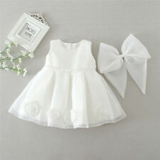 0-1Y Ivory Toddler Baby Girl Dress Pageant Christening Wedding Formal Clothes