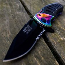M-TECH SPRING ASSISTED Open Rainbow FOLDING POCKET KNIFE Tactical Rescue New