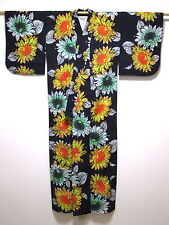 Genuine Japanese Ladies' Indigo 'Large Sunflowers' Cotton Yukata/Kimono/Robe S/M