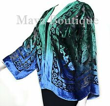 Green Blue Burnout Velvet Jacket Short Kimono No Fringe Hand Dyed Maya Matazaro