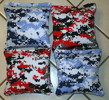 Quality Cornhole Bags, corn hole  Red & Blue Digital Camouflage Set of 8