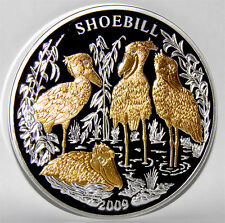 2009 Rwanda SHOEBILL (Royal Heron) 3Oz 4 Diamonds Silver Proof Coin