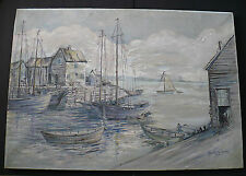 """Blanche Fox Morey Arts & Crafts 20"""" X 28"""" Oil Painting """"Fishing Village"""" 1920's"""