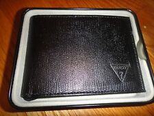 Guess Wallet for men in black leather: 3 bifold.Faux leather