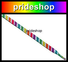 Rainbow Candy Stripe Shoelaces Polyester Shoe Laces Lesbian Gay Pride #872