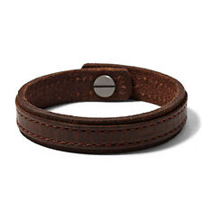 NEW FOSSIL BROWN LEATHER+BRONZE TONE HARDWARE,STITCHING CUFF BRACELET JA6325797