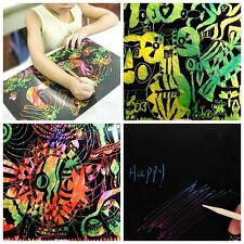 10x Feuille 16K Coloré Scratch Peinture Papier Dessin Libre Bâton Enfant Cadeau