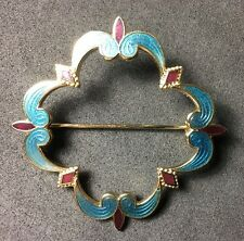 AUTHENTIC VINTAGE 50S 60s ART DECO ENAMEL DESIGNER COSTUME JEWELLERY PIN BROOCH