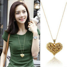 New Womens Hollow Carved Heart Pendant Charm Long Sweater Chain Necklace Gift