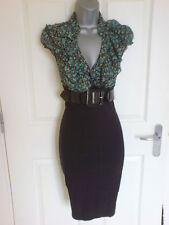Jane Norman Green & Black Pencil Wiggle Bodycon Work Office Dress - Size 14 -12