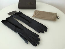 BOTTEGA VENETA NAPPA LEATHER SILK Lining LACED GLOVES DARK BLUE Size 8