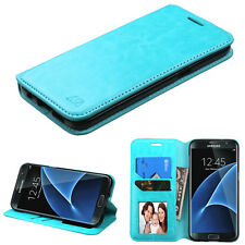 For Samsung GALAXY S7 Edge Leather Flip Wallet Case Phone Cover Stand Blue Pouch