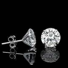 6Ct Created Diamond Stud Earrings 14K White Gold 4-Prong Solitaire Round Cut