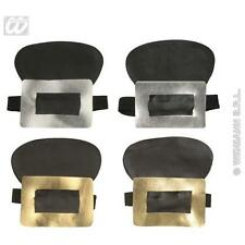 Gold With Silver Leatherlook Shoe Buckles Pirate Santa Fancy Dress Accessory