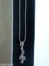 NEW MUSIC ,NOTE PENDENT  22 INCH  SILVER NECKLACE   GIFT BOX ,CHRISTMAS