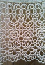 Top Quality Voile Curtain Panel with Macrame Lace Border x 2
