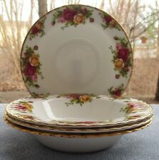 FOUR Royal Albert Old Country Roses Flat Rimmed Soup Bowls Mint