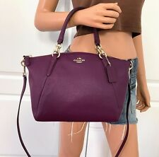 NWT COACH PURPLE PEBBLED LEATHER SMALL SHOULDER SATCHEL CROSSBODY  BAG PURSE