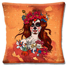 "Vintage Retro Mexican Sugar Skull Day of the Dead Girl 16"" Pillow Cushion Cover"