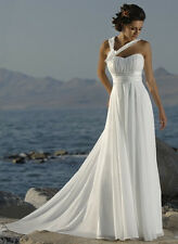 Strapless Handmade Flower Chiffon Beach White  Wedding Dress. BRIDAL GOWN.