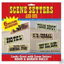 Pack 6 Escena Setter Decoraciones signos occidental Salvaje Oeste Fiesta