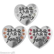 15PCs Heart Snap Buttons Family Theme Love Regualr Mixed Jewelry Necklace DIY