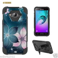 Blue Flower Shockproof Case w/Stand Cover for Samsung Galaxy Amp Prime Sol J3
