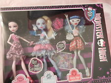 3 New Dot Dead Gorgeous Draculaura Abbey Ghoulia Monster High Dolls Exclusive