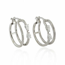 Sterling silver 925 cage creole hoop cz cubic zirconia crystal earring. Gift box
