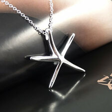 Cute Womens Jewelry Silver Beautiful Starfish Pendant Necklace Chain New