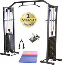 CABLE CROSSOVER MACHINE w/150kg Weight & Chin Up BAR Black MULTI GYM Workout NEW