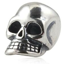 Skull Goth Genuine 925 Sterling Silver Charm Bead For European Bracelet