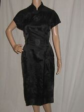VTG 1950's WIGGLE DRESS BLACK SILK SATIN CHEONGSAM SUSIE WONG STYLE FILM STAR S