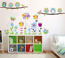 Colourful Flowers Owls Tree Branch Bird Children's Removeable Wall Stickers