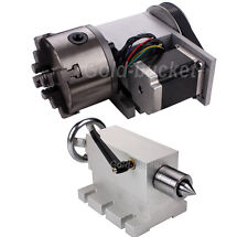 CNC 4th Axis Router Table Rotational A Axis 4 Jaw 100mm Chuck+Lathe Tailstock