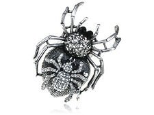 Stunning Large Silver Tone Simple Crystal Rhinestone Spider Insect Bug Ring