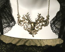 GOLD DEER FILIGREE NECKLACE damask stag antler Victorian brass Steampunk bib Z4