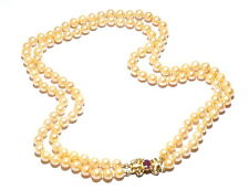 "14K Gold Diamond Ruby Cultured Peach Pearl Double Strand 16.5 - 18.5"" Necklace"