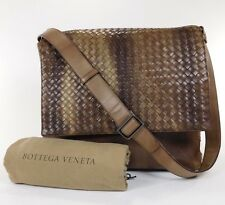 RARE Bottega Veneta Woven Leather Messenger Travel Laptop Carry On Bag Tote R319