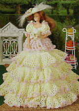 Crochet Pattern Only ~ Barbie's Curlecue Southern Belle Dress, Hat & Fan