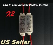 2PC Mini 12V LED DIMMER SWITCH MODULE W/ ON/OFF/DIMMER FLASH MODE IN-LINE