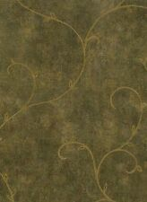 Wallpaper Green & Gold Faux With Gold Leaf Scroll