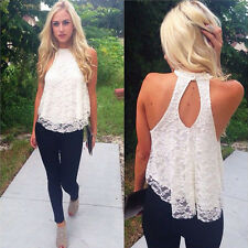 Sexy Women Lady Summer Casual Sleeveless Shirt Lace Loose Vest Top Blouse Gfit