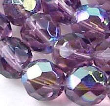 25 Firepolish Czech Faceted AB Amethyst Round Beads 8mm