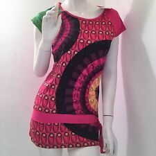 New Desigual T-Shirt Blouse Tunic Short Sleevs Print  Red/Green/Black Size S