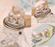 Fashion New Double Sided Gold Plated Crystal Ear Stud Earrings Big Pearl Jewelry