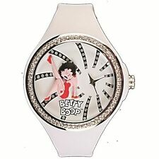 O13-55 OROLOGIO DONNA BETTY BOOP VINTAGE BIANCO BRILLANTINI STRASS SWAROVSKI