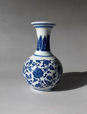 Chinese Blue and white Hand-painted flowers Porcelain vase with sign B-14