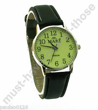 Gents Watch, Easy Read Glow in The Dark Dial, Black Leather Strap, By Mabz
